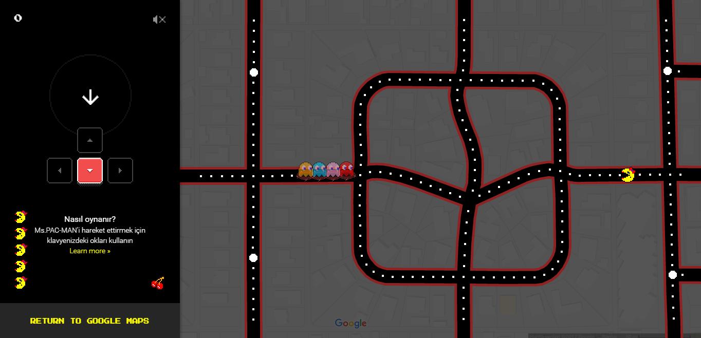 Google Haritalar'da Pac-Man Oynayın